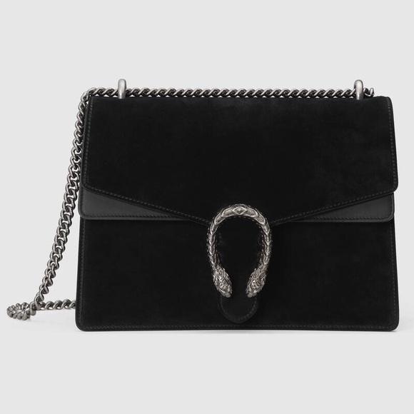 Gucci Handbags - Gucci black suede Dionysus medium bag - Brand new
